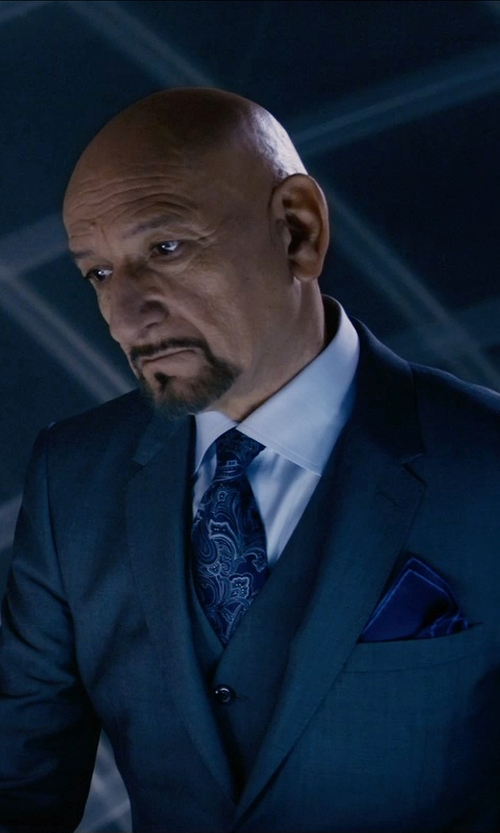 Ben Kingsley with Salvatore Ferragamo Silk Twill Pocket Square in Self/Less