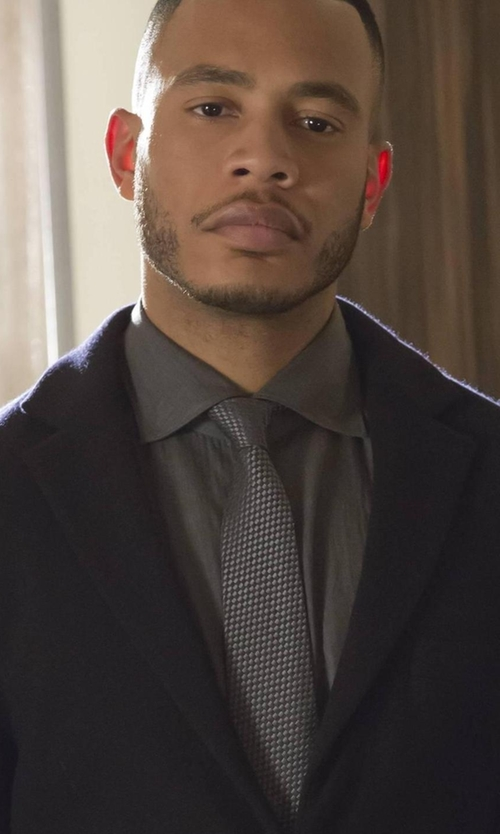 Trai Byers with Nordstrom Men's Shop 'Holiday Party' Tonal Grid Silk Tie in Empire