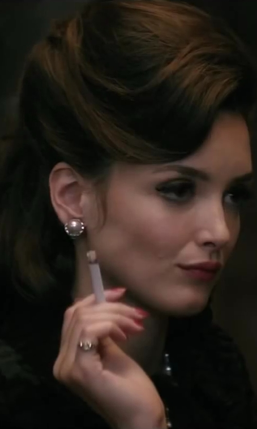 Charlotte Le Bon with Bloomingdale's Cultured Pearl Earrings with Diamonds in Yves Saint Laurent