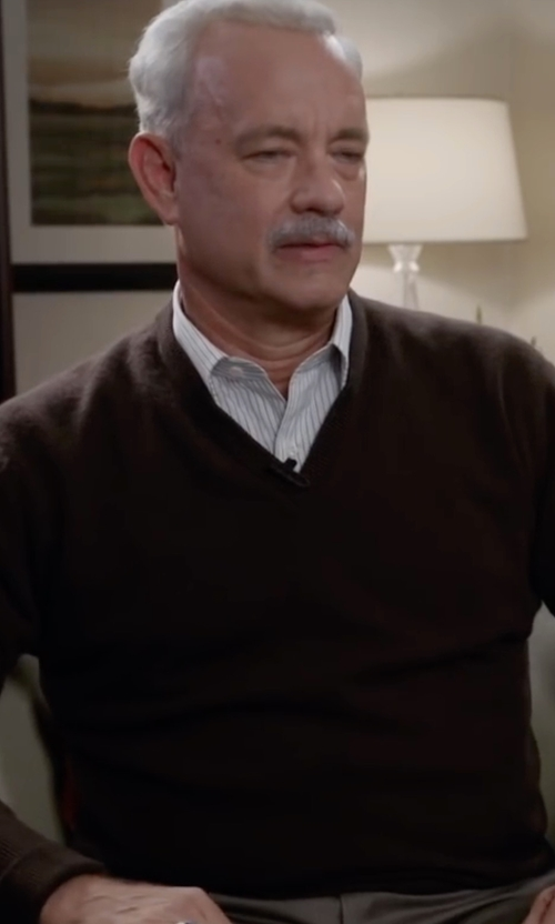 Tom Hanks with Ermenegildo Zegna High-Performance V-Neck Sweater in Sully