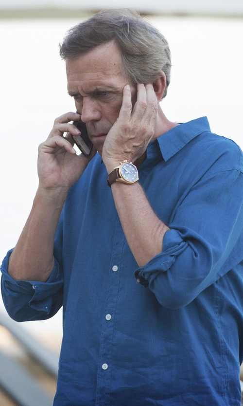 Hugh Laurie with Tommy Hilfiger Men's Sophisticated Sport Leather Strap Watch in The Night Manager