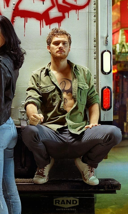 Finn Jones with Alexander McQueen Calfskin Leather Platform Sneakers in Marvel's The Defenders