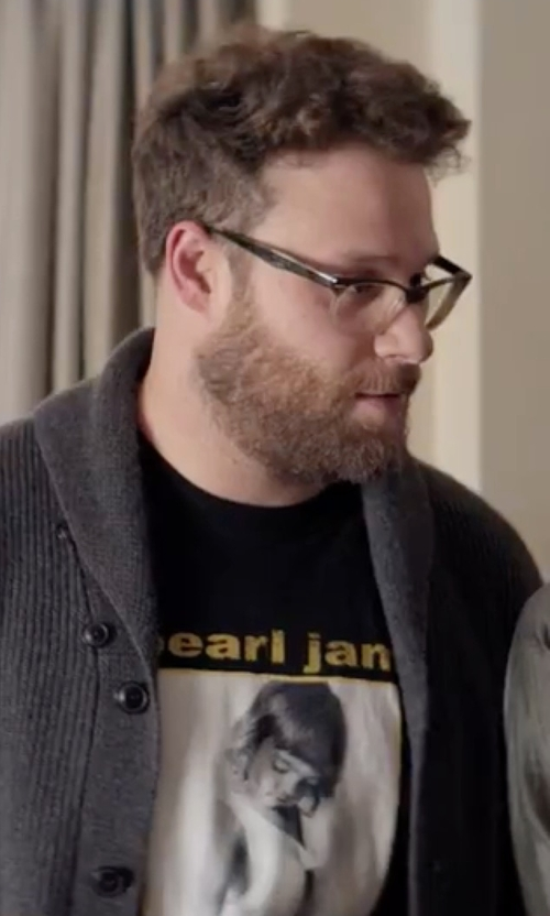 Seth Rogen with Pearl Jam  'Choices' Black 2-Sided T-Shirt in Neighbors 2: Sorority Rising