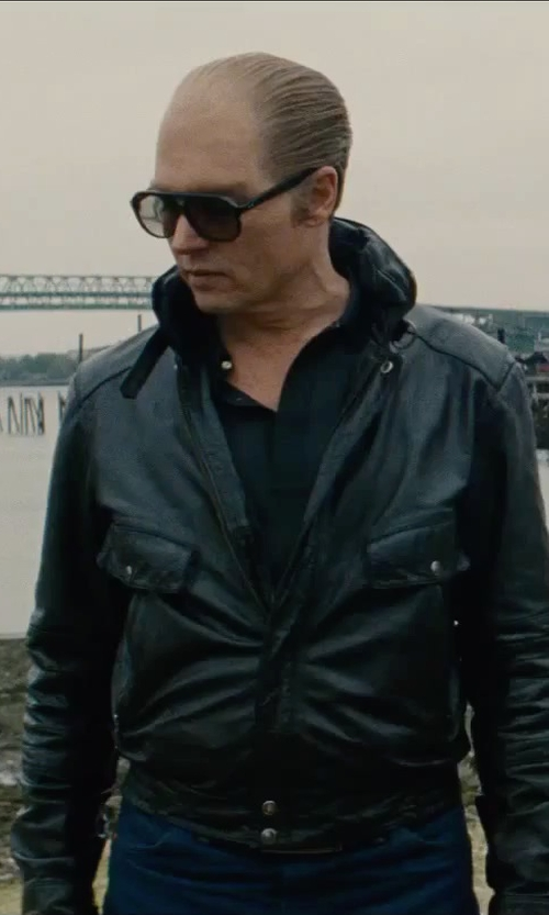 Johnny Depp with Tom Ford Chris Acetate Sunglasses in Black Mass