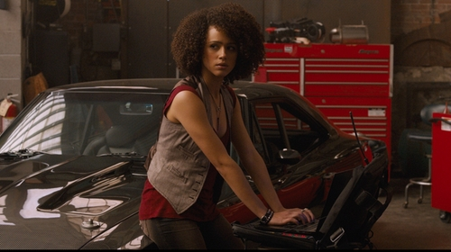 Nathalie Emmanuel with Robin's Jean Motorcycle Skinny Jeans in The Fate of the Furious
