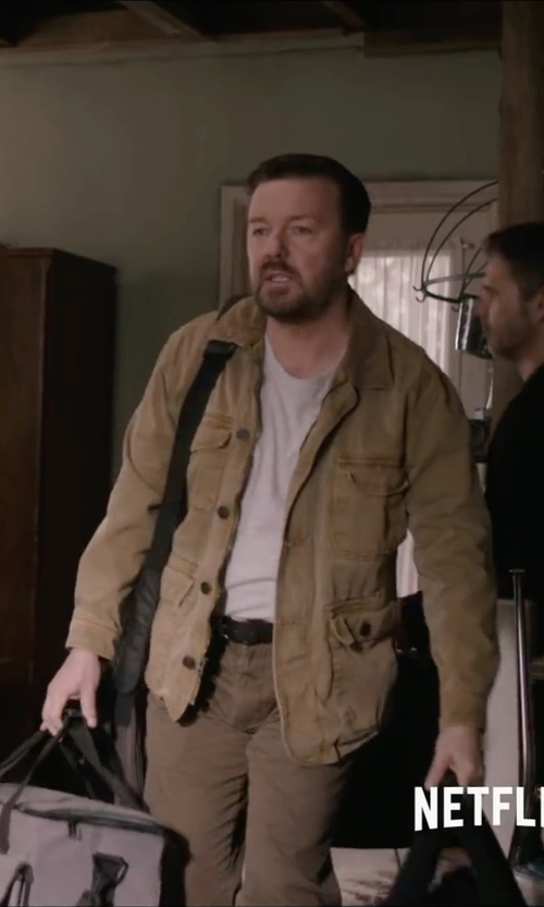 Ricky Gervais with F** By Fay Jacket in Special Correspondents