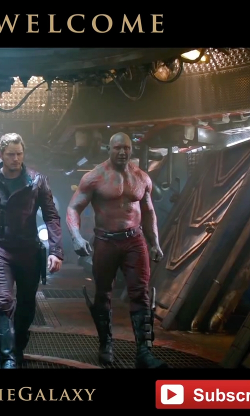 Dave Bautista with Alexandra Byrne (Costume Designer) Custom Made Drax the Destroyer Costume in Guardians of the Galaxy
