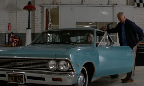Ellen Barkin with Chevrolet 1966 Chevelle Coupe in Animal Kingdom