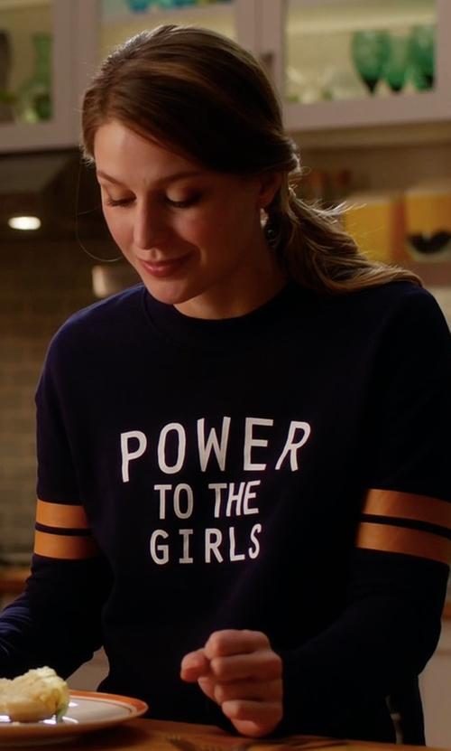 Melissa Benoist with H&M Printed Sweatshirt in Supergirl