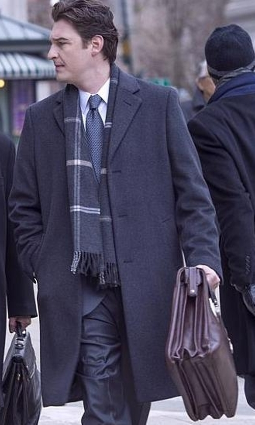 Toby Leonard Moore with Frye Ben Artisan Leather Briefcase in Billions