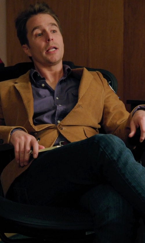 Sam Rockwell with J Brand Kane Slim Straight Jeans in Laggies