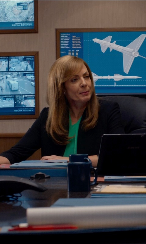 Allison Janney with Helmut Lang Smoking Wool & Leather Blazer in Spy