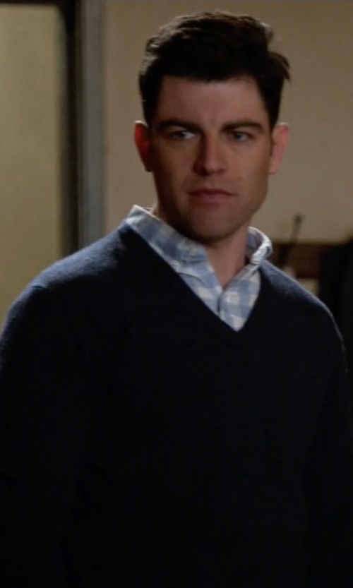 Max Greenfield with AG Green Label Arbor Merino Wool V-Neck Sweater in New Girl