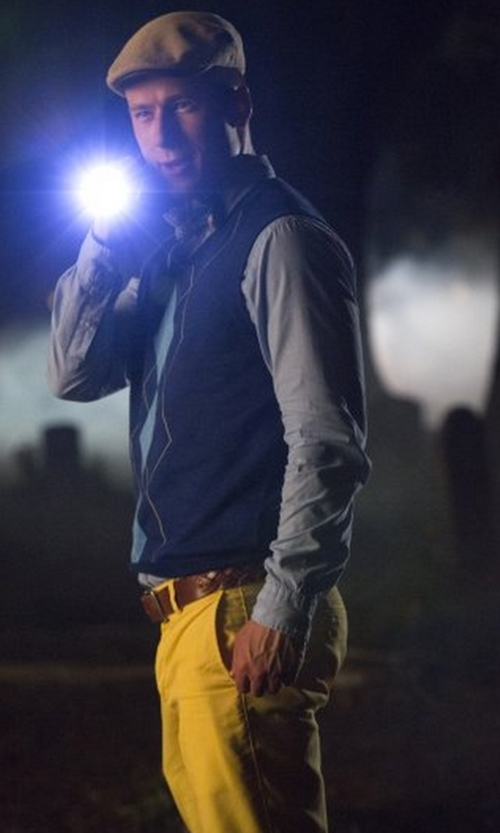 Glen Powell with Façonnable Cotton Stretch Straight-Fit Pants in Scream Queens