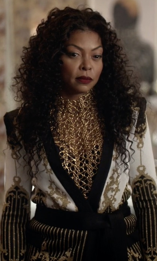 Taraji P. Henson with Balmain Patterned Baroque Belted Jacket in Empire