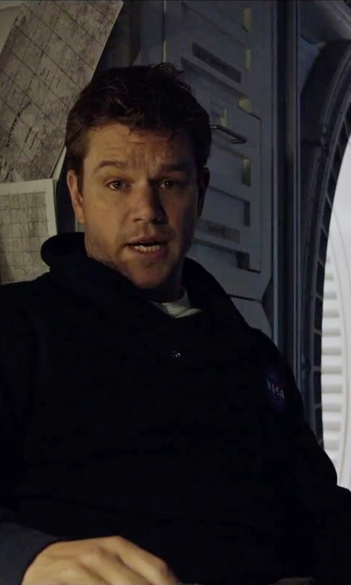 Matt Damon with World Basics Crew Neck T-Shirt in The Martian