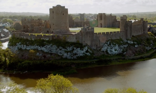 Sam Claflin with Pembroke Castle Pembroke, United Kingdom in Me Before You