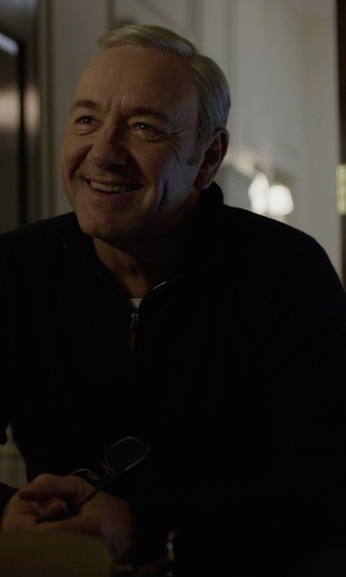 Kevin Spacey with Peter Millar Crown Soft Quarter-Zip Pullover Sweater in House of Cards