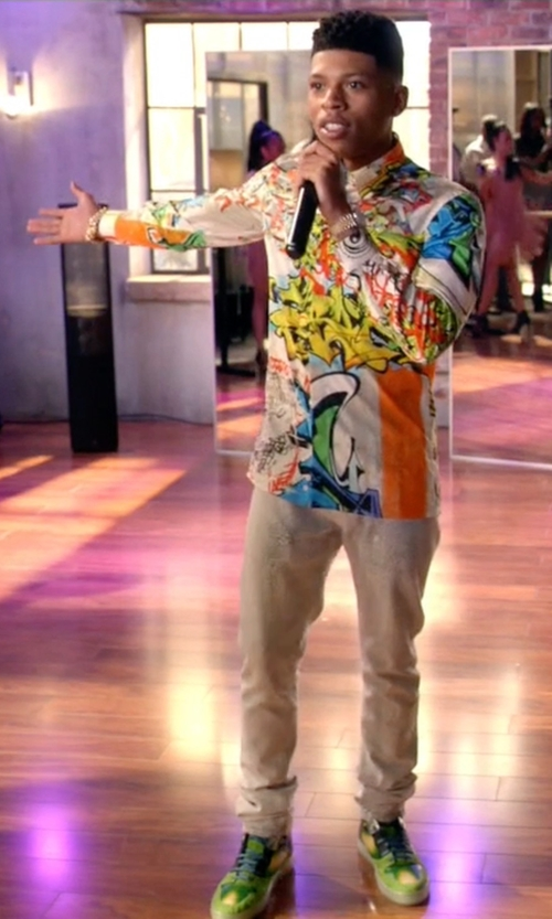 Bryshere Y. Gray with Versace Graffiti Long Sleeved Shirt in Empire