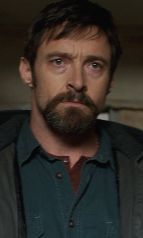 Hugh Jackman with Vince Wool/linen Slub Henley Shirt in Prisoners