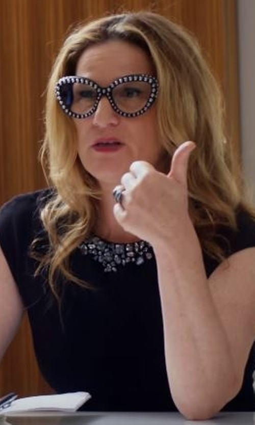 Ana Gasteyer with Lauren Ralph Lauren Embellished Sheath Dress in Lady Dynamite