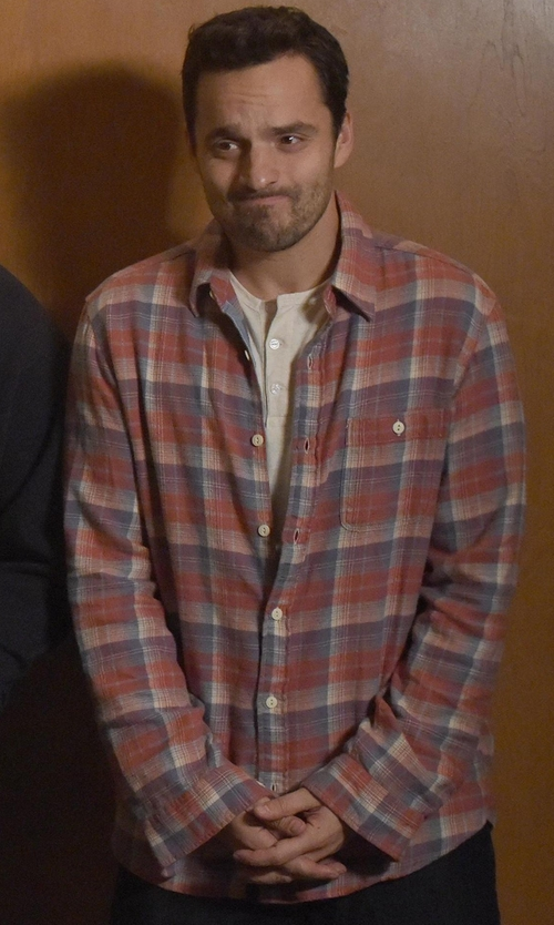 Jake Johnson with Jack Spade Sanford Plaid Long Sleeve Modern Fit Shirt in New Girl