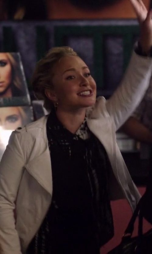 Hayden Panettiere with Joie Odina Leather Moto Jacket in Nashville