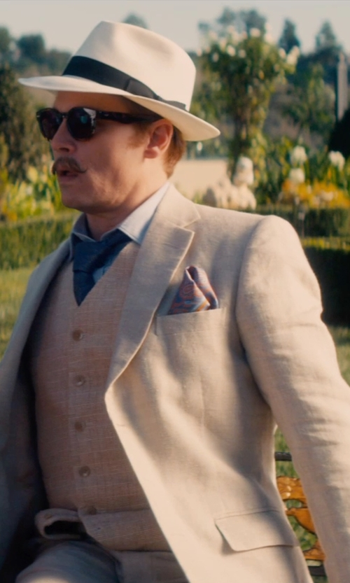 Johnny Depp with Zzegna Cotton Satin Slim Fit Suit in Mortdecai