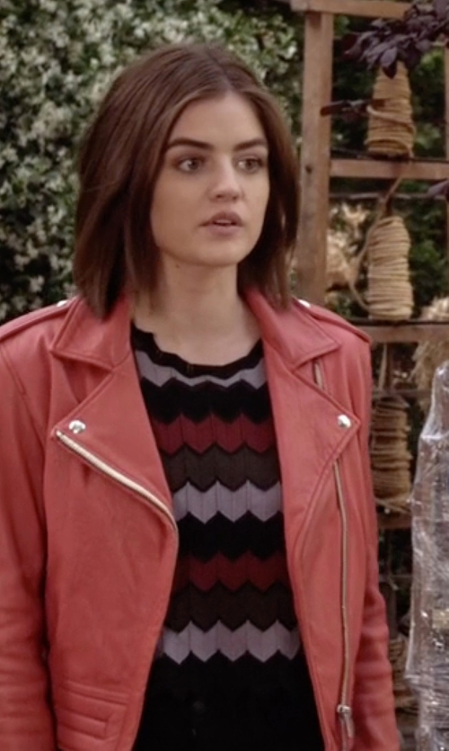 Lucy Hale with A.L.C. Leo Sleeveless Zigzag Crop Top in Pretty Little Liars
