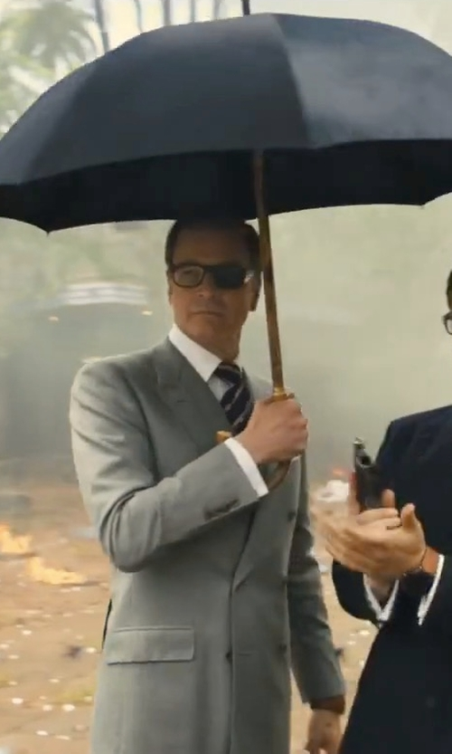 Colin Firth with Kingsman + Swaine Adeney Brigg Chestnut Wood-Handle Umbrella in Kingsman: The Golden Circle