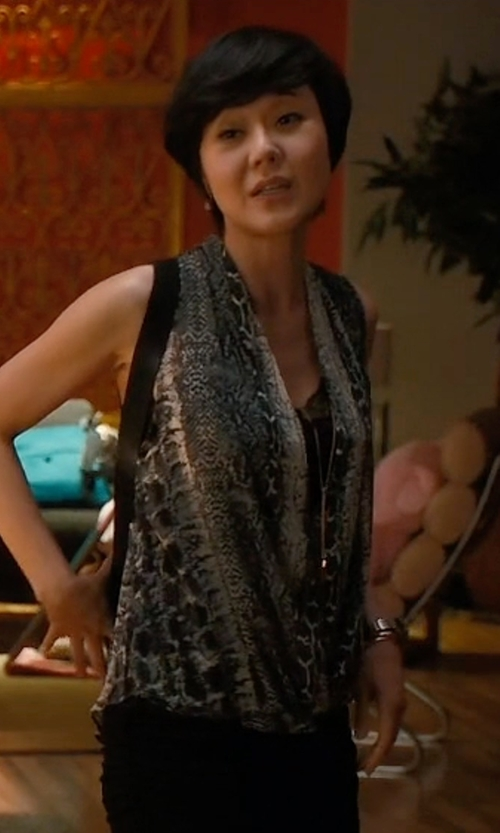 Yunjin Kim with INC International Concepts Printed Surplice Top in Mistresses