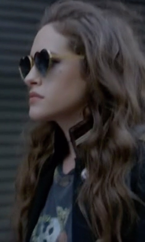 Carly Chaikin with Chaser Hibiscus Skull Muscle Tank Top in Mr. Robot