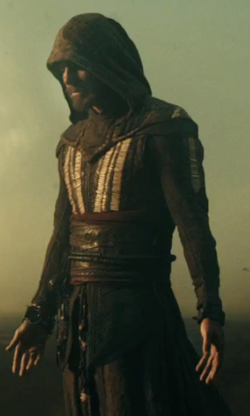 Michael Fassbender with Sammy Sheldon (Costume Designer) Custome Made Robe (Callum Lynch / Aguilar) in Assassin's Creed