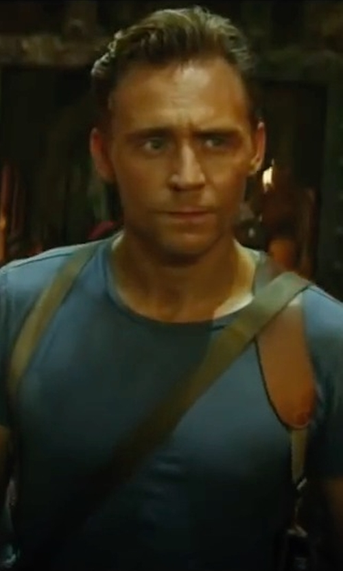 Tom Hiddleston with Club Room Men's Solid Crew-Neck T-Shirt in Kong: Skull Island