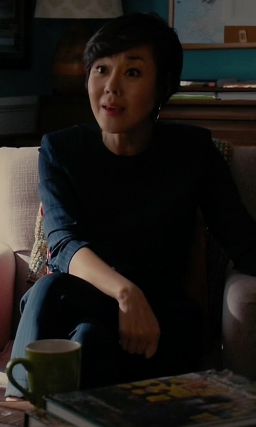 Yunjin Kim with DKNY Cuffed High-Rise Pinstripe Ankle Pants in Mistresses