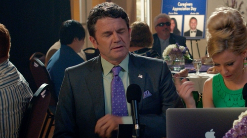 John Michael Higgins with Brooks Brothers Medallion Tie in Pitch Perfect 2