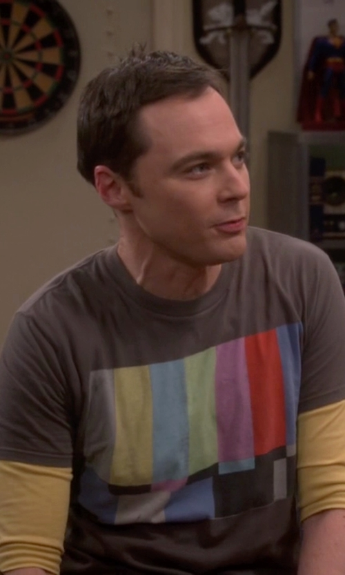 Jim Parsons with BSW No Channel Color Bars Shirt in The Big Bang Theory