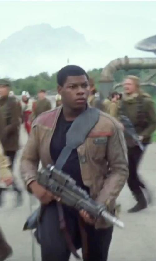 John Boyega with Michael Kaplan (Costume Designer) Custom Made Trousers in Star Wars: The Force Awakens