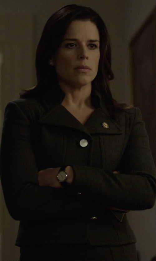Neve Campbell with Jil Sander Navy Single Breasted Blazer in House of Cards