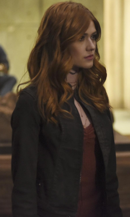 Katherine McNamara with G-Star Lynn Raw Jacket in Shadowhunters