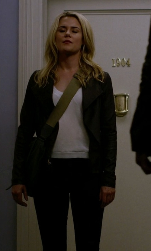 Rachael Taylor with BB Dakota Harper Leather Jacket in Jessica Jones