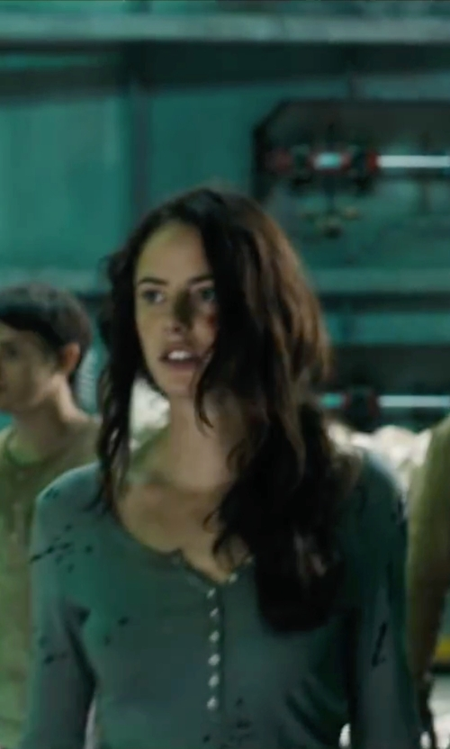 Kaya Scodelario with Sun & Shadow Lace Henley Tee in Maze Runner: The Scorch Trials