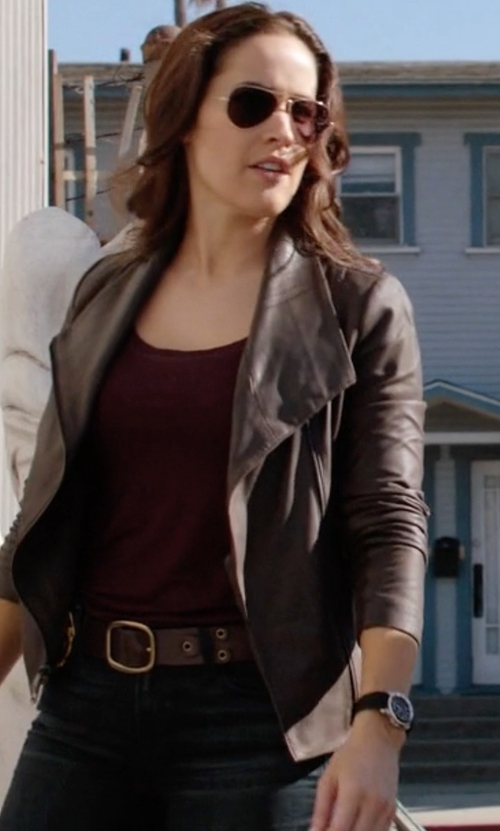 Jaina Lee Ortiz with Swarovski Swiss Dreamy Leather Strap Watch in Rosewood