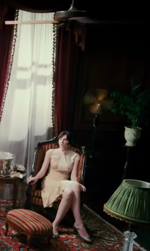Elizabeth Debicki with Catherine Martin (Costume Designer) Custom Made Cream Caped Dress in The Great Gatsby
