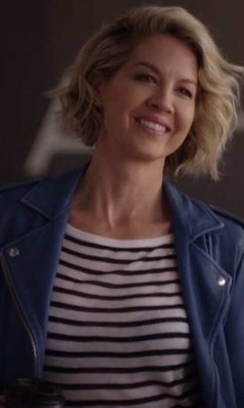 Jenna Elfman with T by Alexander Wang Striped Tee in Imaginary Mary