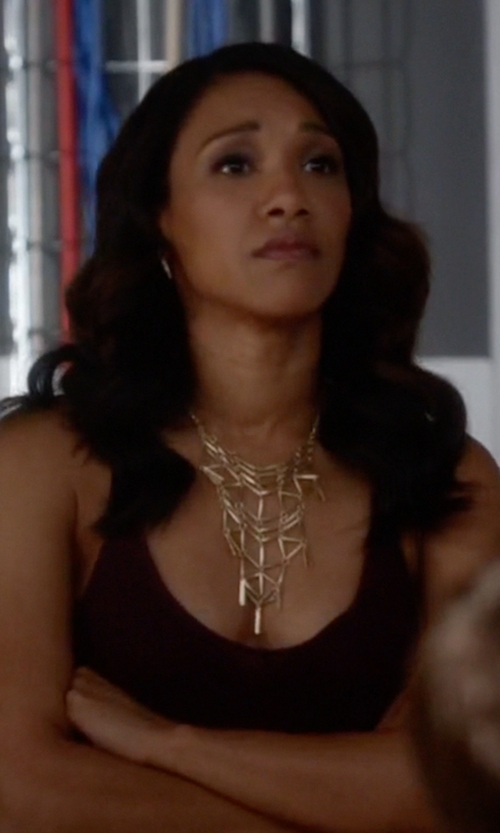 Candice Patton with Aqua Mindy Geo Bib Necklace in The Flash
