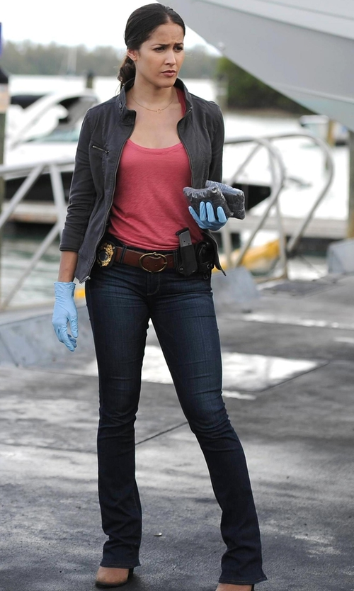 Jaina Lee Ortiz with MICHAEL Michael Kors Bootcut Jeans in Rosewood