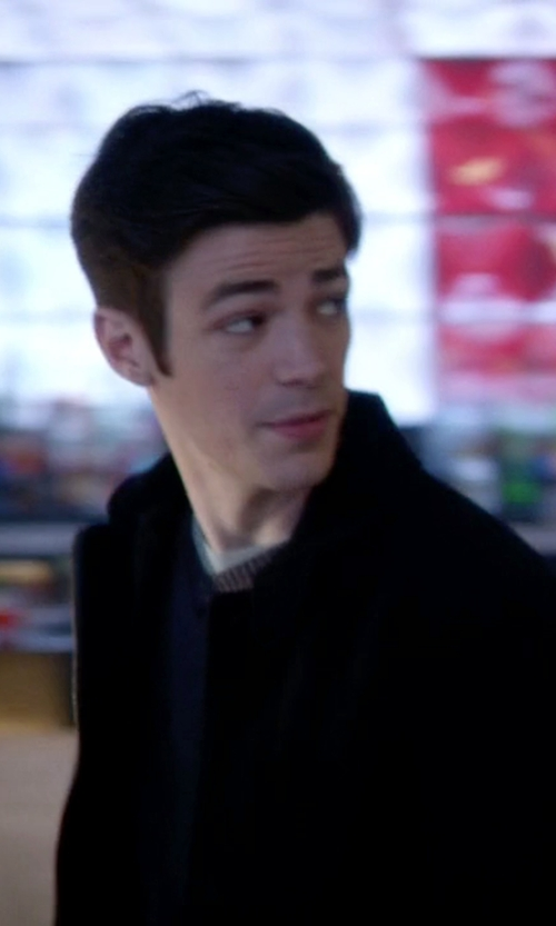 Grant Gustin with Hart Schaffner Marx Holman Cashmere Bomber Jacket in The Flash