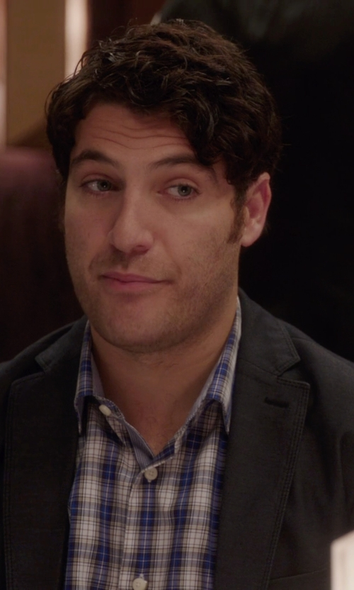Adam Pally  with Jared Lang Trim Fit Plaid Sport Shirt in The Mindy Project