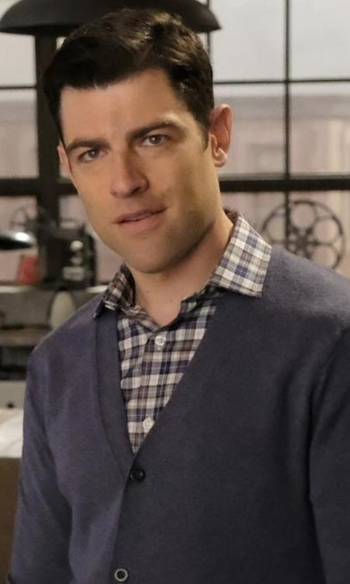 Max Greenfield with Ami Checked Cotton Shirt in New Girl